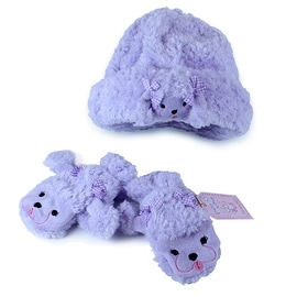 Fuzzy Wear Girls Purple Poodle Hat & Mitten Set, 18-24 Months
