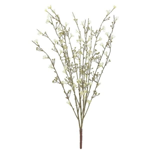 "27"" Glamour Time Decorative Gold Glittered White Blossom Bush Spray - brown"