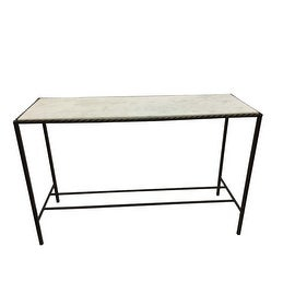 Metal Rectangular Console Table with Marble Top - N/A