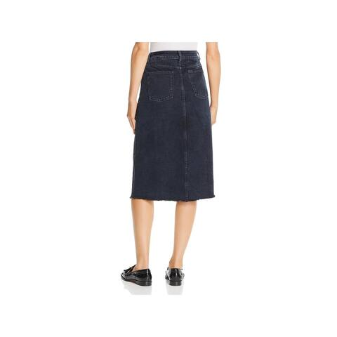 DL1961 Womens Pencil Skirt Denim Frayed Hem