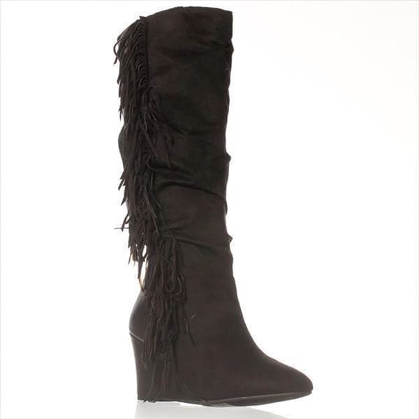 JFab Maxime Wide Calf Knee-High Boots - Black