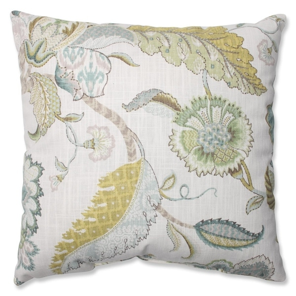 "16.5"" Blue and Cream Finders Keepers Peacock Floral Decorative Throw Pillow"
