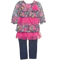 Vitamins Kids Baby Girls Blue Pink Floral Tiered Top 2 Pc Pant Outfit