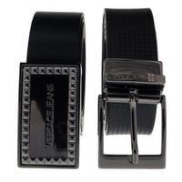 """Versace ED8YSBF17 EMI8 Black Adjustable-2 Buckle Leather Belt - 28"""" to 40"""" waist adjustable"""