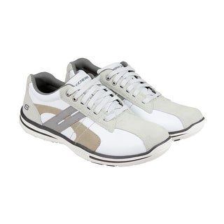 Skechers Elected Gavino Mens White Leather Lace Up Sneakers Shoes