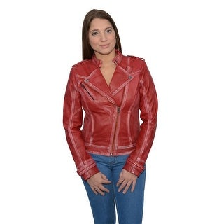 Women's Sheepskin Leather Asymmetrical Motorcycle Jacket w/ Studding (Option: Pink)