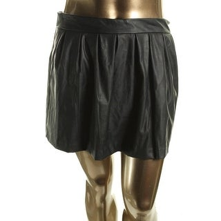 Stoosh Womens Juniors A-Line Skirt Faux Leather Pleated