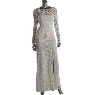 BCBG Max Azria Womens Elizabella Lace Peplum Evening Dress - 6