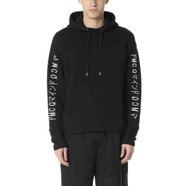 McQ Alexander McQueen Mens Embroidered Logo Hoodie Sweatshirt Small S Black
