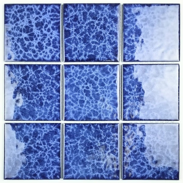 "Miseno MT-WHSMNTPOL-BL Monet - 4"" Square Wall Mosaic Tile - Glossy Porcelain Visual - Blue"