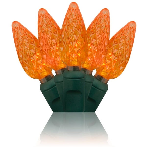 Wintergreen Lighting 20321 70 Bulb C6 Orange LED Christmas Lights