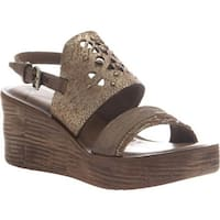 OTBT Women's Hippie Wedge Sandal Gold Leather
