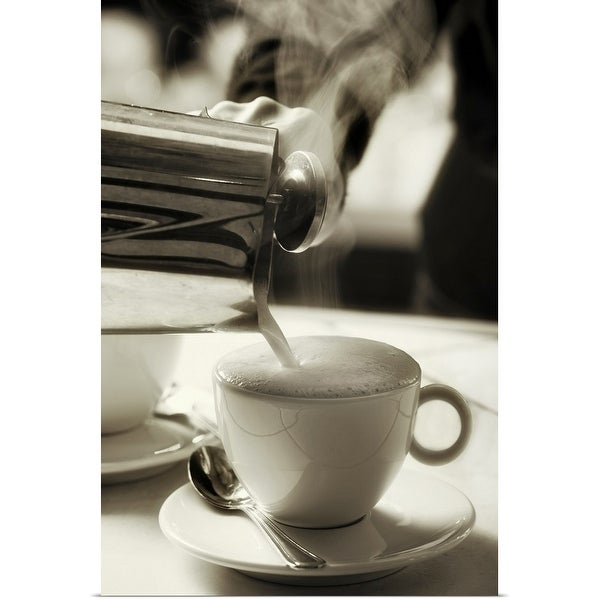 """""""The art of fresh coffee making, adding steamed milk to make a cappuccino"""" Poster Print"""