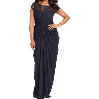 Adrianna Papell Womens Plus Evening Dress Chiffon Lace Yoke