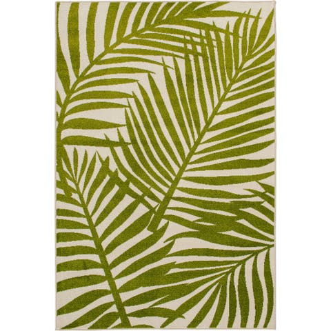 Tecopa Green and White Palm Leaf Indoor Outdoor Woven Area Rug