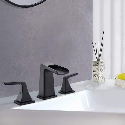 Matte Black 2-Handles Bathroom Faucet with Pop Up Sink Drain