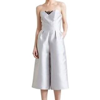 Paper Crown NEW Silver Blac Lace-Trim Women's Size 4 Pleated Jumpsuit