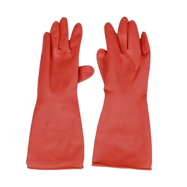 Unique Bargains Houseworking Red Latex Long Washing Cleaning Gloves Pair