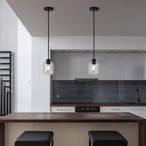 Middleton 1-Light Matte Black Pendant Lighting with Clear Glass Shade - 5.5