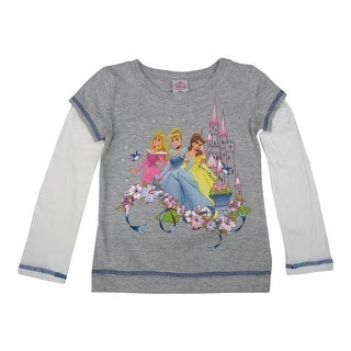 Disney Little Girls Grey Princess Flowery Print Long Sleeve T-Shirt 6