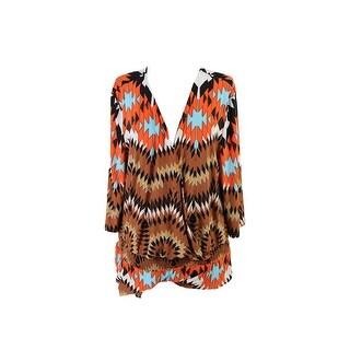 Inc International Concepts Plus Size Orange Tribal Printed Romper 3X