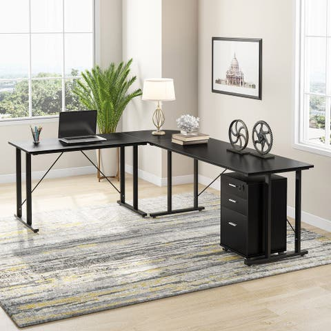 L Shaped Home Office Desk with File Cabinet