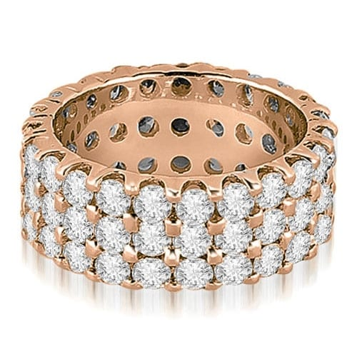 4.85 cttw. 14K Rose Gold Round Diamond Three Row Eternity Ring