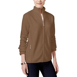 Karen Scott Womens Petites Fleece Jacket Long Sleeves Zip-Front