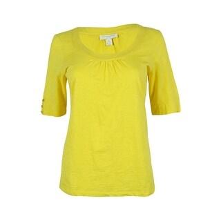 Charter Club Women's Elbow Sleeve Scoop Neck Top - pm