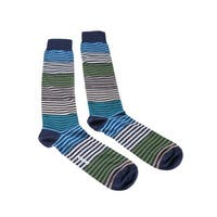 Missoni GM00CMU5233 0003 Turquoise/Green Striped Knee Length Socks - L