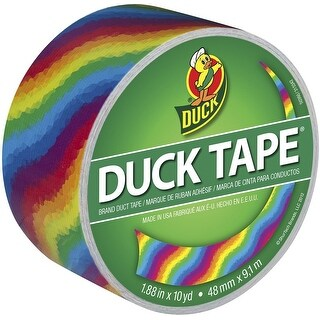 "Duck 281496 Printed Duct Tape, Rainbow, 1.88"" x 10 Yards, Rainbow"