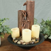 shop pure garden triple jug tabletop fountain with led lights on