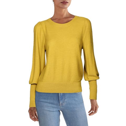Joie Womens Noely Crewneck Sweater Puff Sleeves Cashmere Blend - Goldenrod