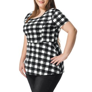 Allegra K Women Plus Top Plus Size Checked Peplum Top