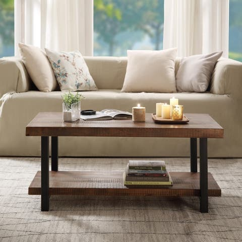 Idustrial Coffee Table Solid Wood + MDF and Iron Frame with Open Shelf