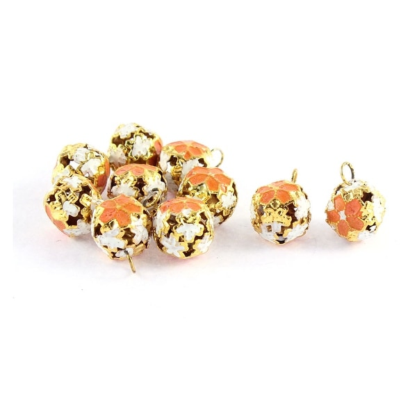 10 Pcs Christmas Decor Hollow Out Design Flower Shaped Ring Jingle Bell Orange