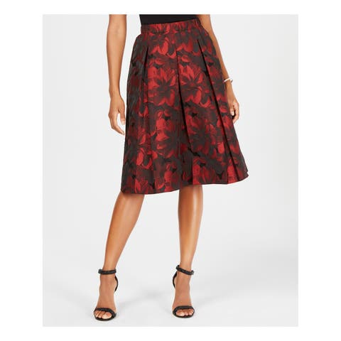 MSK Womens Red Pleated Jacquard Midi Wear To Work Skirt Size: 14