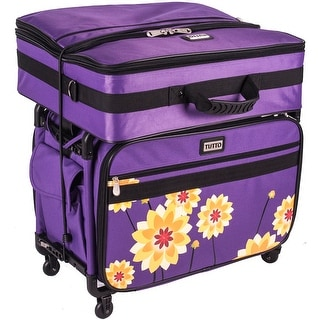 "TUTTO Machine On Wheels Case-23""X15""X12"" Purple W/Yellow Dahlias"