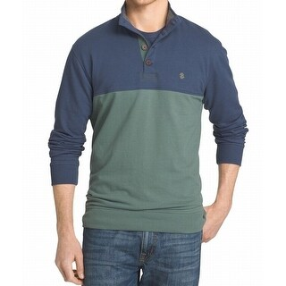 IZOD NEW Green Duck Blue Mens Size Large L Mock Neck Colorblock Sweater
