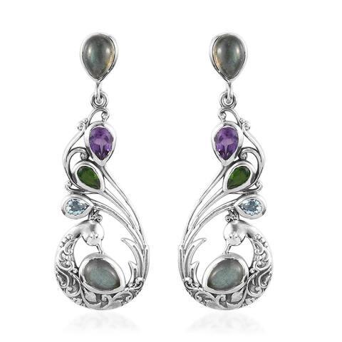 925 Sterling Silver Labradorite Amethyst Dangle Earrings Ct 4.5