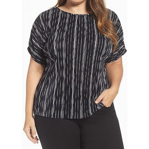 Vince Camuto Black Womens Size 2X Plus Striped Textured Blouse