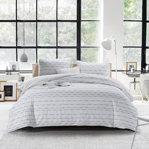 Cotton Duvet Cover Set-Washed Woven Pintuck Texture