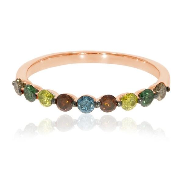 Brand New 0.54 Carat Round Brilliant Cut Multi Color Diamond Anniversary Ring