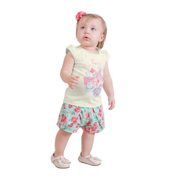 Pulla Bulla Baby Girl Set Floral Tee and Shorts 2pcs Outfit