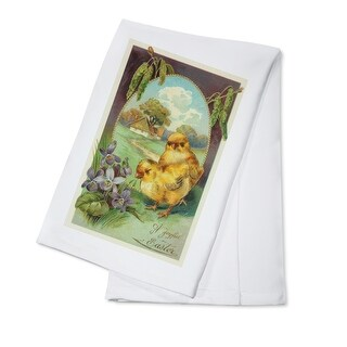 A Joyful Easter Scene with Chicks and Violets (100% Cotton Towel Absorbent)
