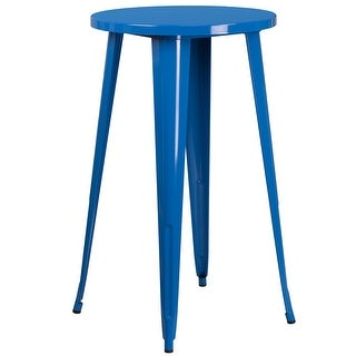 Brimmes Round 24'' Blue Metal Bar Height Table for Patio/Bar