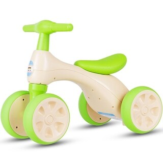 Costway Baby Balance Bike No Pedal Bicycle Children Walker 4 Wheels w/ Sound & Storage - Yellow