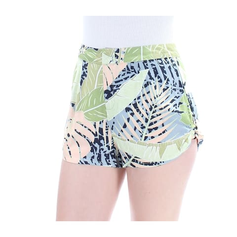 MINKPINK Womens Green Flat Front Leaves Short Size: M
