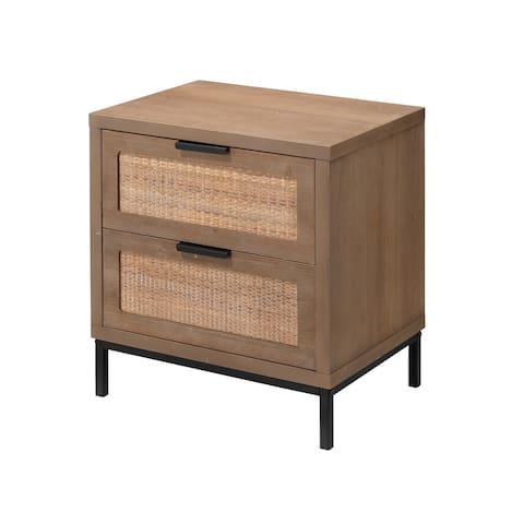 Alden Decor Reed 2 Drawer Side Table