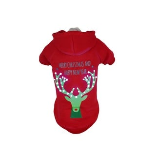 Pet Life LED Lighting Christmas Reindeer Hooded Sweater Pet Costume, Red Deer, M